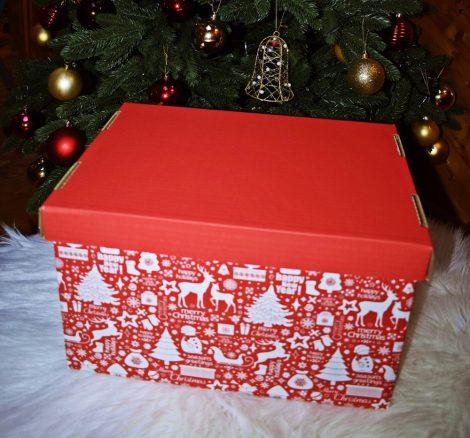 Karácsony mintás karton doboz